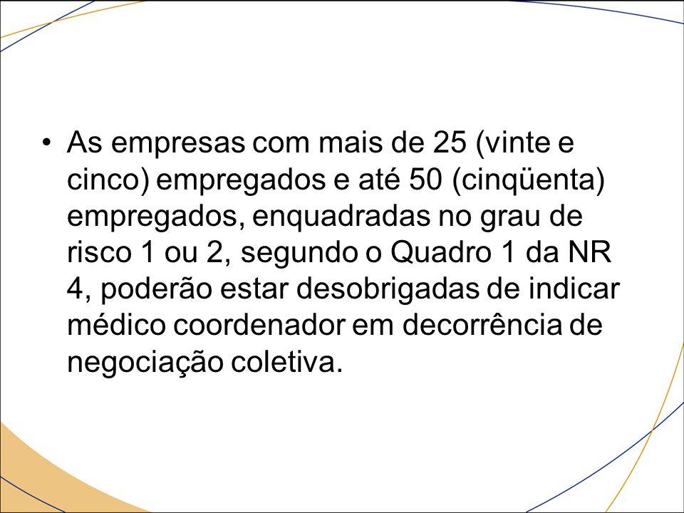 As empresas com mais de 25 (vinte e cinco) empregados e até 50 (cinqüenta) empregados, enquadradas no grau de risco 1 ou 2, segundo o Quadro 1 da NR 4
