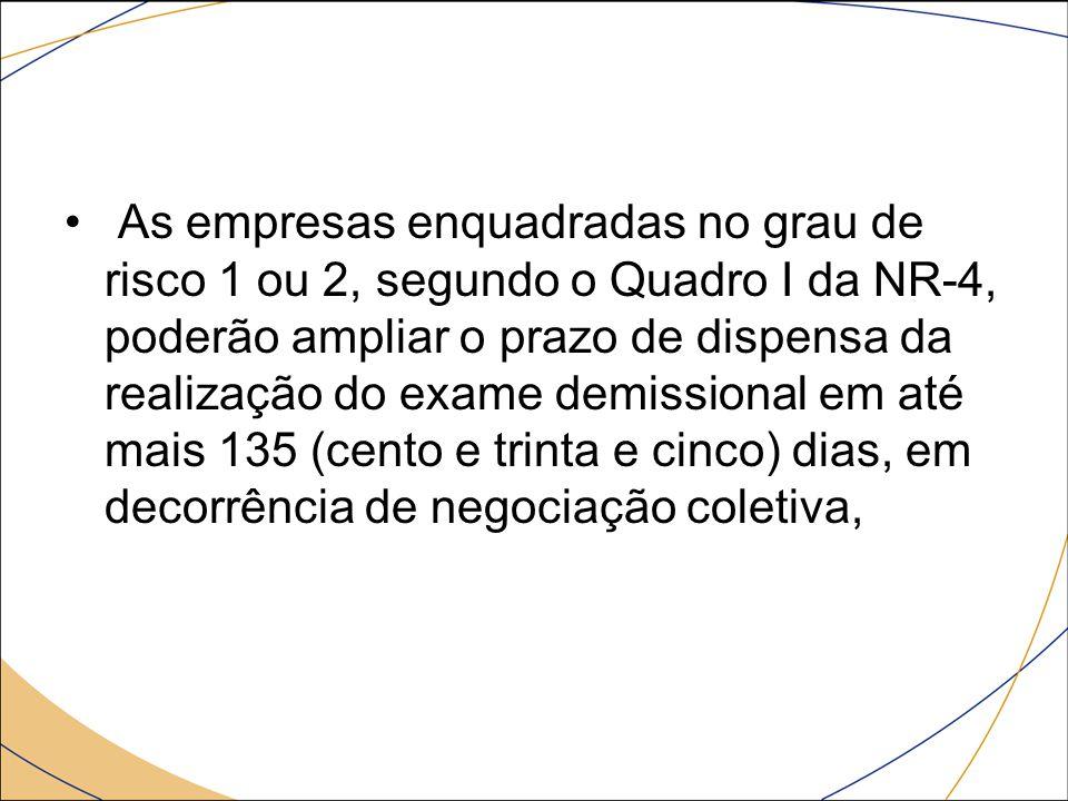 As empresas enquadradas no grau de risco 1 ou 2, segundo o Quadro I da NR-4, poderão ampliar o prazo de dispensa da realização do exame demissional em