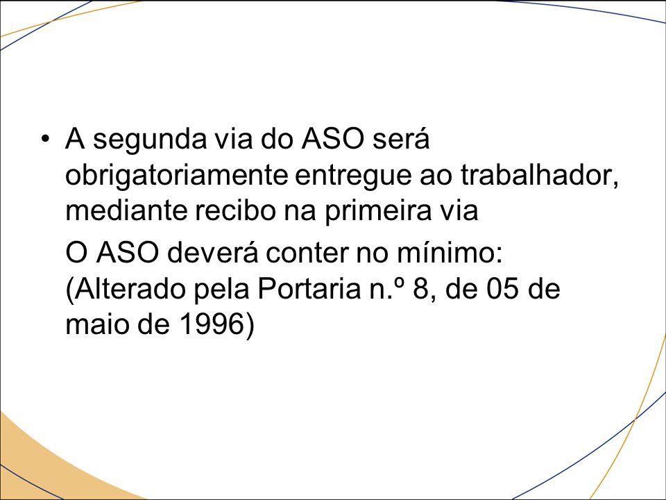 A segunda via do ASO será obrigatoriamente entregue ao trabalhador, mediante recibo na primeira via O ASO deverá conter no mínimo: (Alterado pela Port
