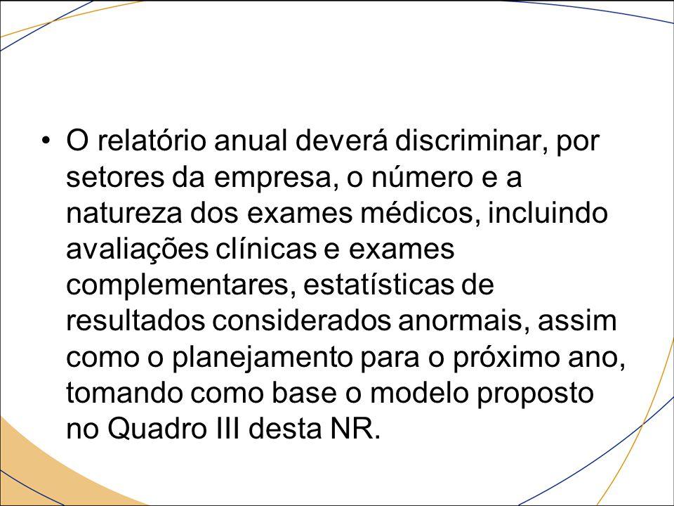 O relatório anual deverá discriminar, por setores da empresa, o número e a natureza dos exames médicos, incluindo avaliações clínicas e exames complem
