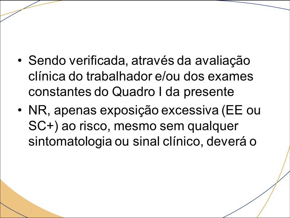 Sendo verificada, através da avaliação clínica do trabalhador e/ou dos exames constantes do Quadro I da presente NR, apenas exposição excessiva (EE ou