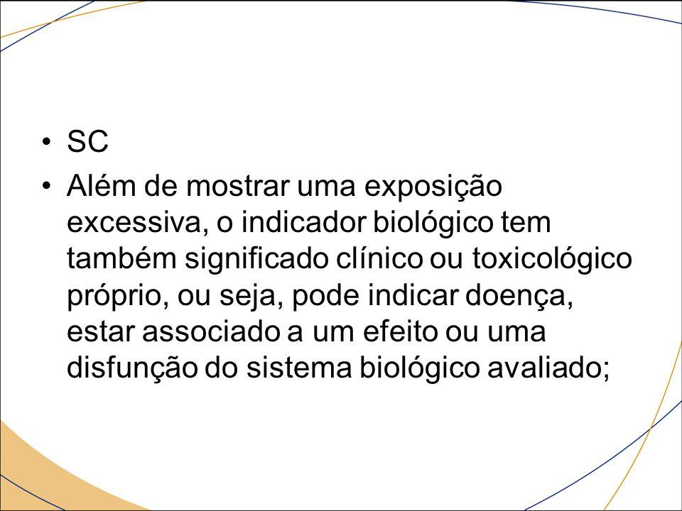 SC Além de mostrar uma exposição excessiva, o indicador biológico tem também significado clínico ou toxicológico próprio, ou seja, pode indicar doença