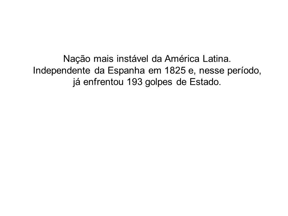 Nação mais instável da América Latina. Independente da Espanha em 1825 e, nesse período, já enfrentou 193 golpes de Estado.