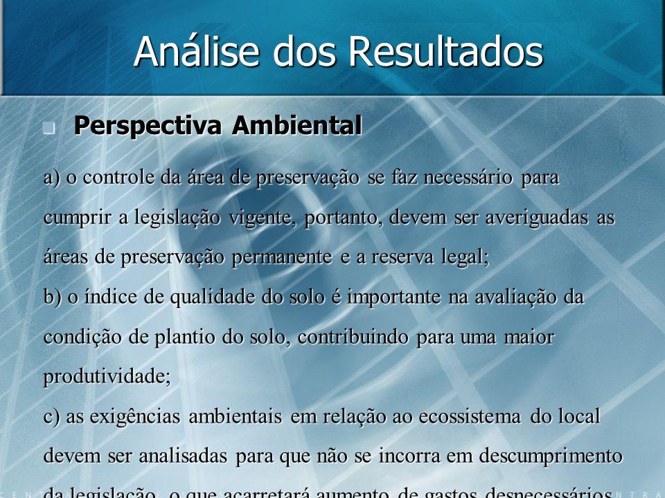 Análise dos Resultados Perspectiva Ambiental Perspectiva Ambiental a) o controle da área de preservação se faz necessário para cumprir a legislação vi