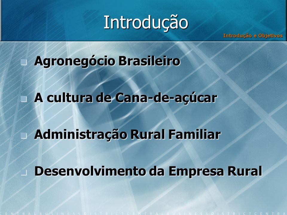 Introdução Agronegócio Brasileiro Agronegócio Brasileiro A cultura de Cana-de-açúcar A cultura de Cana-de-açúcar Administração Rural Familiar Administração Rural Familiar Desenvolvimento da Empresa Rural Desenvolvimento da Empresa Rural Introdução e Objetivos