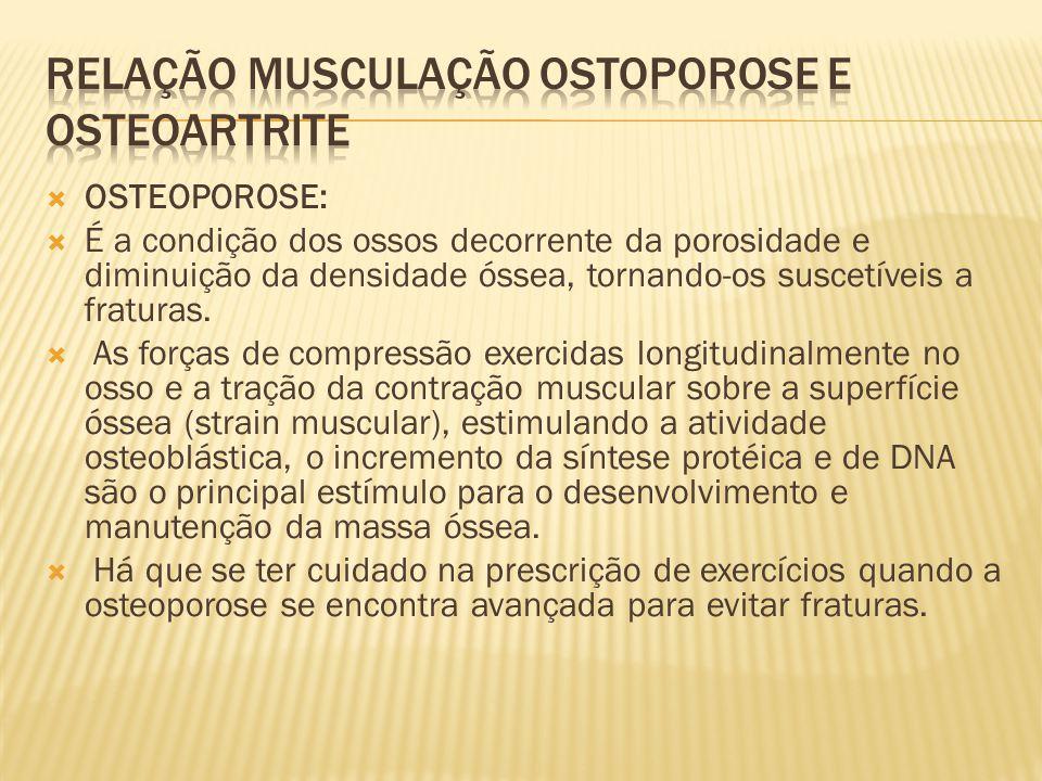  OSTEOPOROSE:  É a condição dos ossos decorrente da porosidade e diminuição da densidade óssea, tornando-os suscetíveis a fraturas.  As forças de c