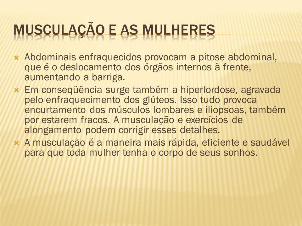  Abdominais enfraquecidos provocam a pitose abdominal, que é o deslocamento dos órgãos internos à frente, aumentando a barriga.  Em conseqüência sur