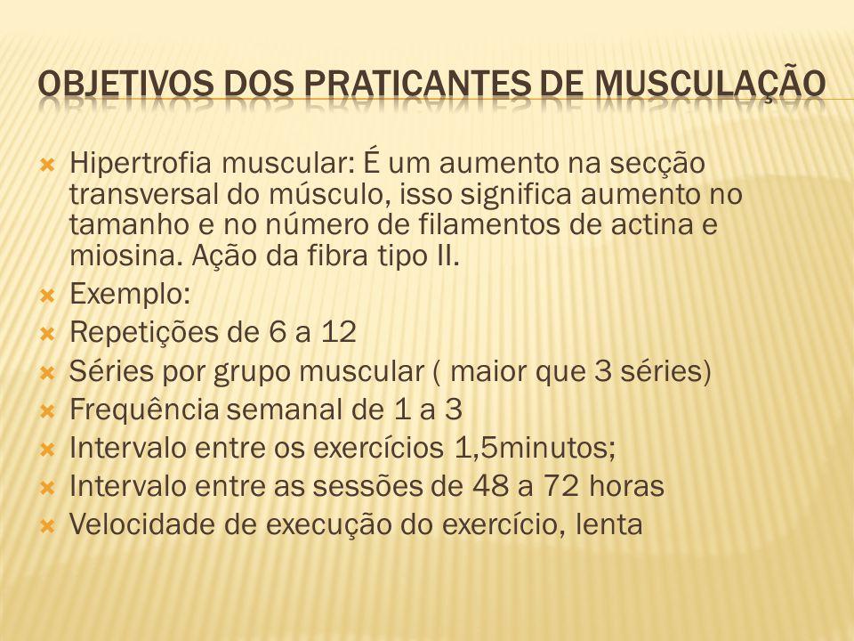  Hipertrofia muscular: É um aumento na secção transversal do músculo, isso significa aumento no tamanho e no número de filamentos de actina e miosina