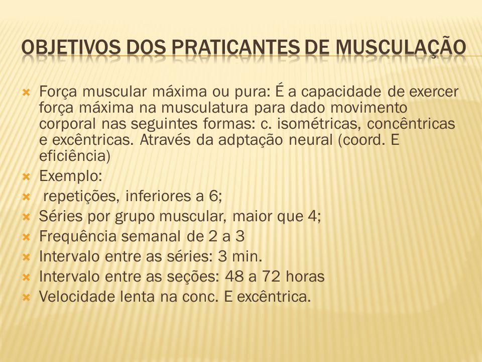  Força muscular máxima ou pura: É a capacidade de exercer força máxima na musculatura para dado movimento corporal nas seguintes formas: c. isométric