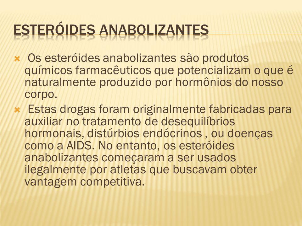  Os esteróides anabolizantes são produtos químicos farmacêuticos que potencializam o que é naturalmente produzido por hormônios do nosso corpo.  Est