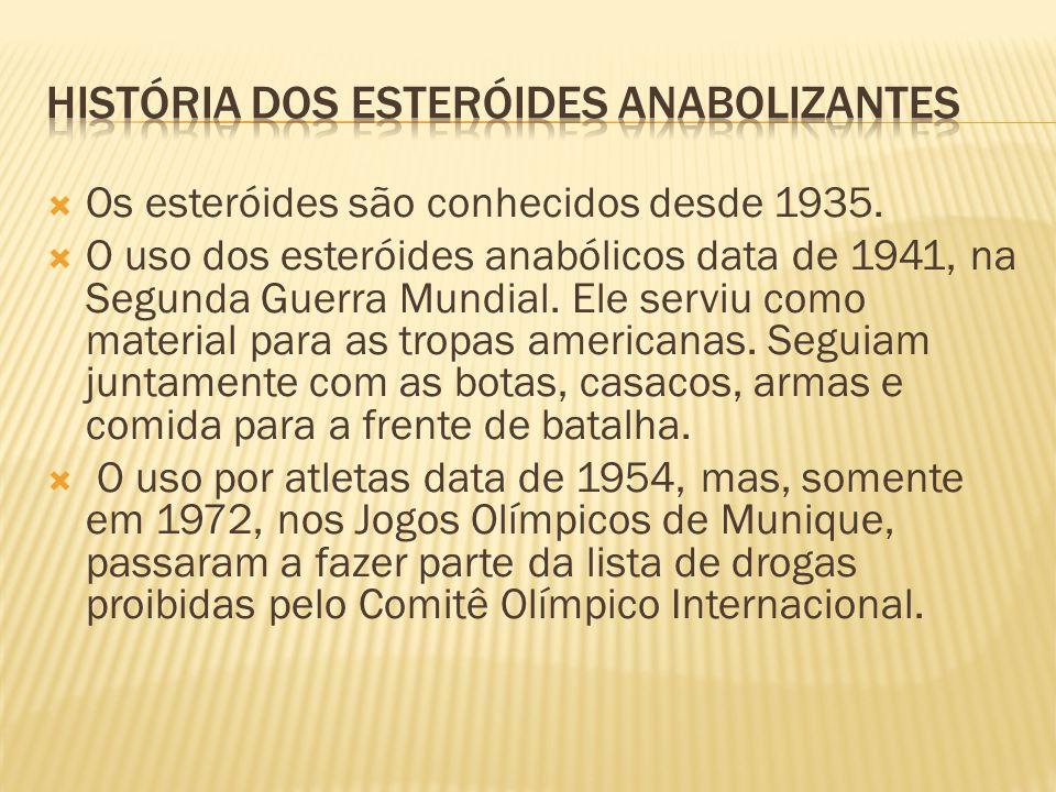  Os esteróides são conhecidos desde 1935.  O uso dos esteróides anabólicos data de 1941, na Segunda Guerra Mundial. Ele serviu como material para as