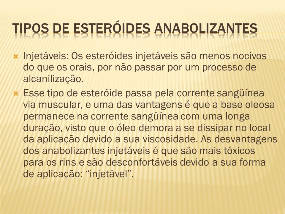  Injetáveis: Os esteróides injetáveis são menos nocivos do que os orais, por não passar por um processo de alcanilização.  Esse tipo de esteróide pa