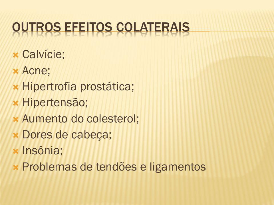  Calvície;  Acne;  Hipertrofia prostática;  Hipertensão;  Aumento do colesterol;  Dores de cabeça;  Insônia;  Problemas de tendões e ligamento