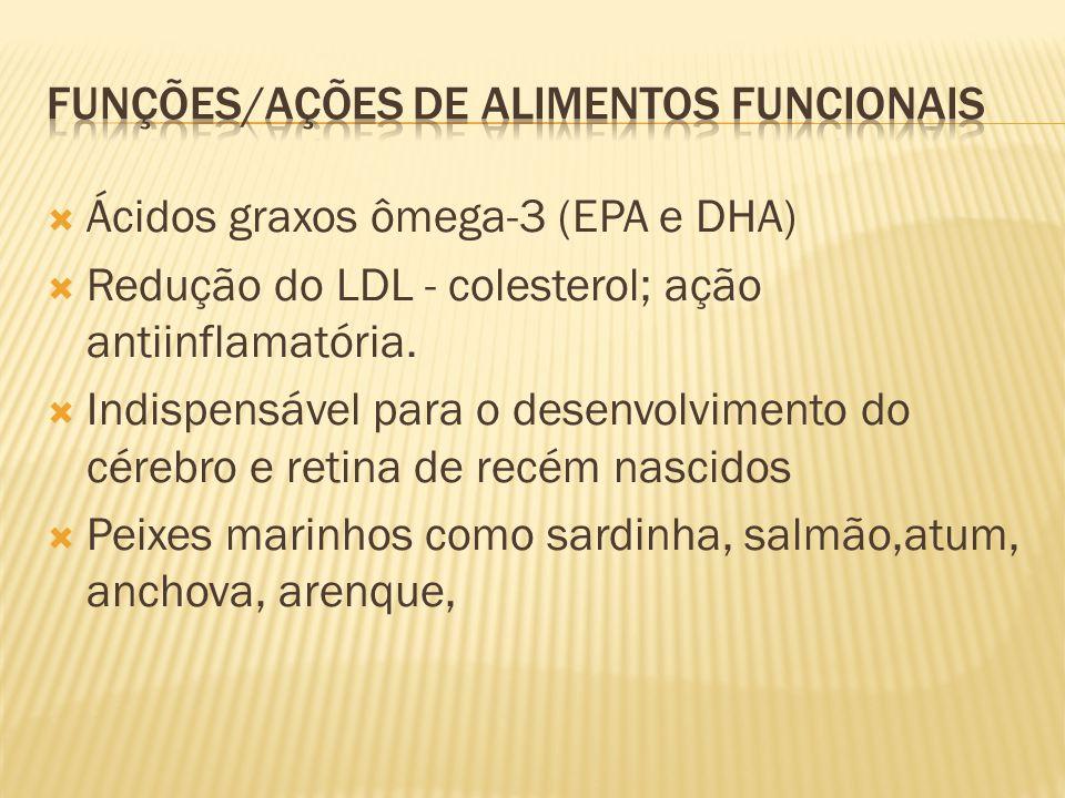  Ácidos graxos ômega-3 (EPA e DHA)  Redução do LDL - colesterol; ação antiinflamatória.  Indispensável para o desenvolvimento do cérebro e retina d