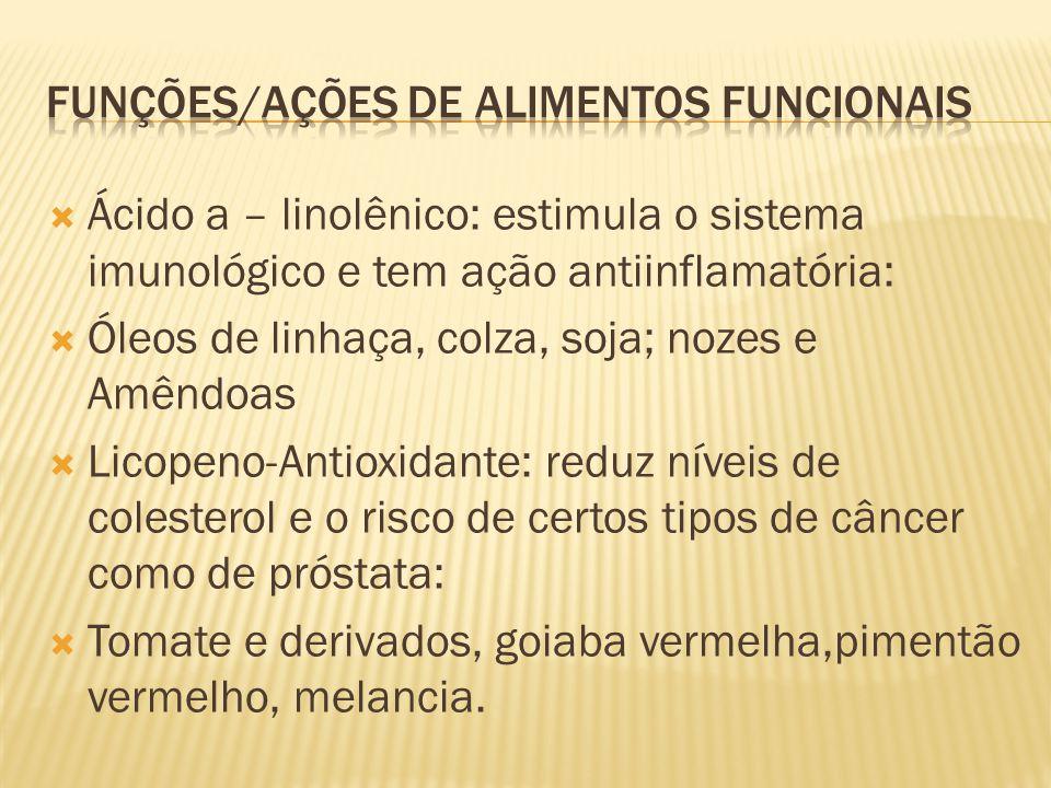  Ácido a – linolênico: estimula o sistema imunológico e tem ação antiinflamatória:  Óleos de linhaça, colza, soja; nozes e Amêndoas  Licopeno-Antio