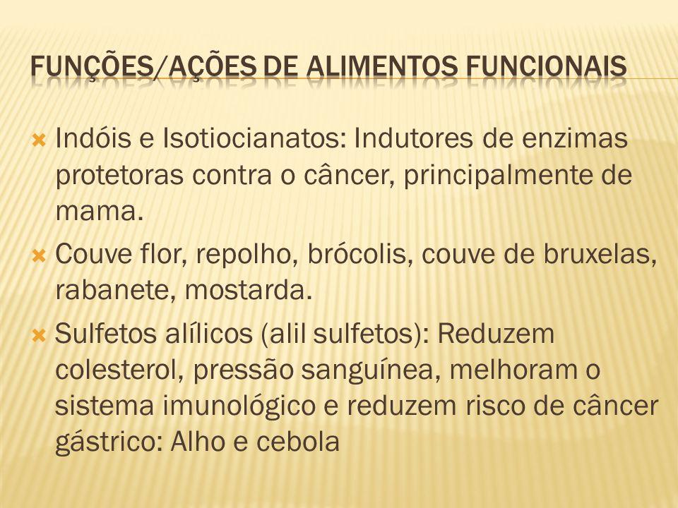  Indóis e Isotiocianatos: Indutores de enzimas protetoras contra o câncer, principalmente de mama.  Couve flor, repolho, brócolis, couve de bruxelas