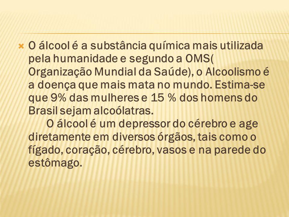  O álcool é a substância química mais utilizada pela humanidade e segundo a OMS( Organização Mundial da Saúde), o Alcoolismo é a doença que mais mata