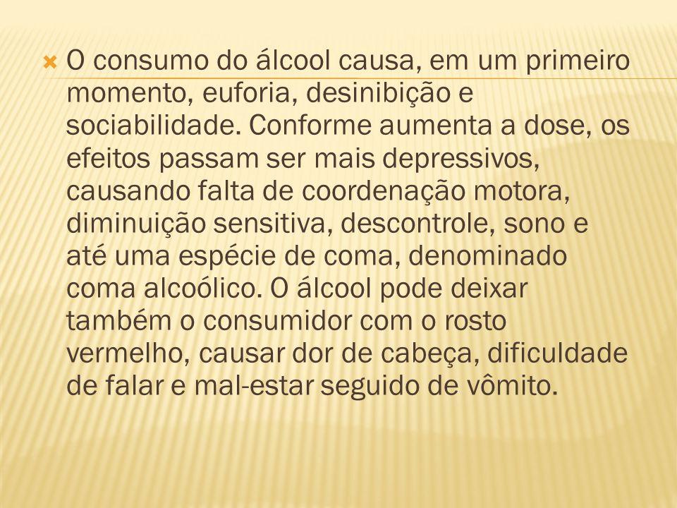  O consumo do álcool causa, em um primeiro momento, euforia, desinibição e sociabilidade. Conforme aumenta a dose, os efeitos passam ser mais depress