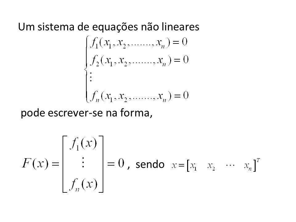 Um sistema de equações não lineares pode escrever-se na forma,, sendo