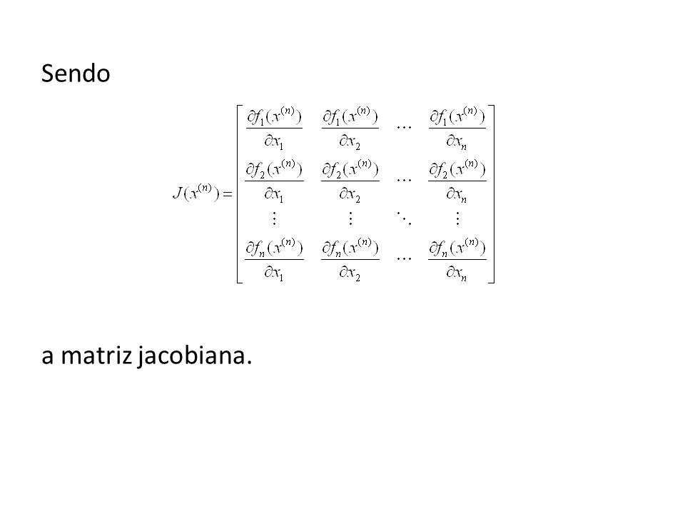 Exemplo: Resolver o sistema, sendo a aproximação inicial.