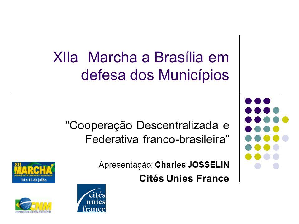 XIIa Marcha a Brasília em defesa dos Municípios Cooperação Descentralizada e Federativa franco-brasileira Apresentação: Charles JOSSELIN Cités Unies France