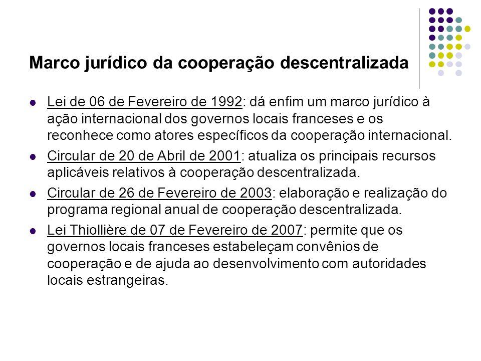 Marco jurídico da cooperação descentralizada Lei de 06 de Fevereiro de 1992: dá enfim um marco jurídico à ação internacional dos governos locais franceses e os reconhece como atores específicos da cooperação internacional.