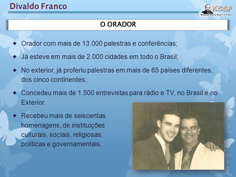  Orador com mais de 13.000 palestras e conferências;  Já esteve em mais de 2.000 cidades em todo o Brasil;  No exterior, já proferiu palestras em m