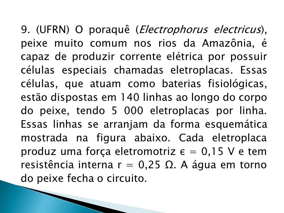 9. (UFRN) O poraquê (Electrophorus electricus), peixe muito comum nos rios da Amazônia, é capaz de produzir corrente elétrica por possuir células espe