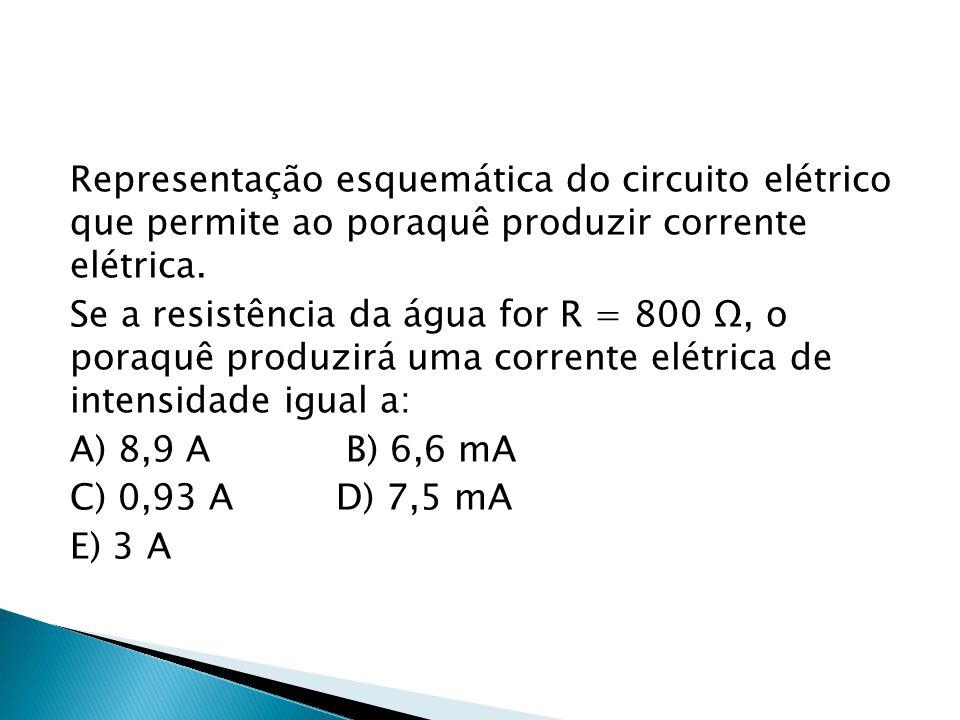 Representação esquemática do circuito elétrico que permite ao poraquê produzir corrente elétrica. Se a resistência da água for R = 800 Ω, o poraquê pr