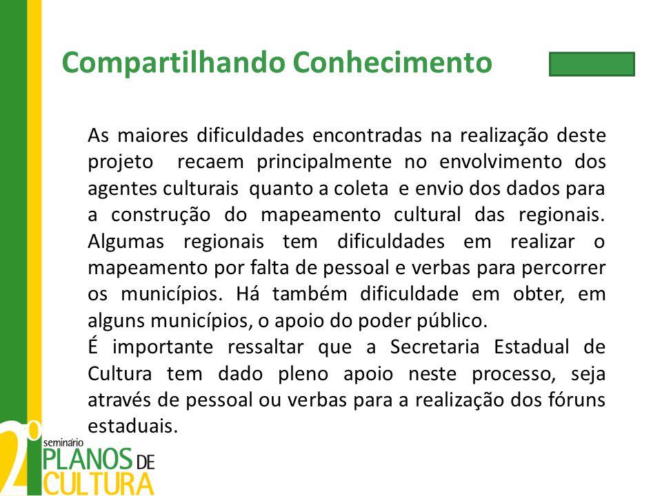 As maiores dificuldades encontradas na realização deste projeto recaem principalmente no envolvimento dos agentes culturais quanto a coleta e envio do