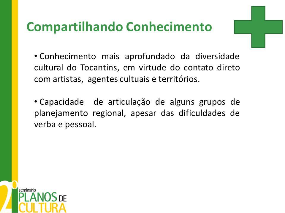 Conhecimento mais aprofundado da diversidade cultural do Tocantins, em virtude do contato direto com artistas, agentes cultuais e territórios. Capacid