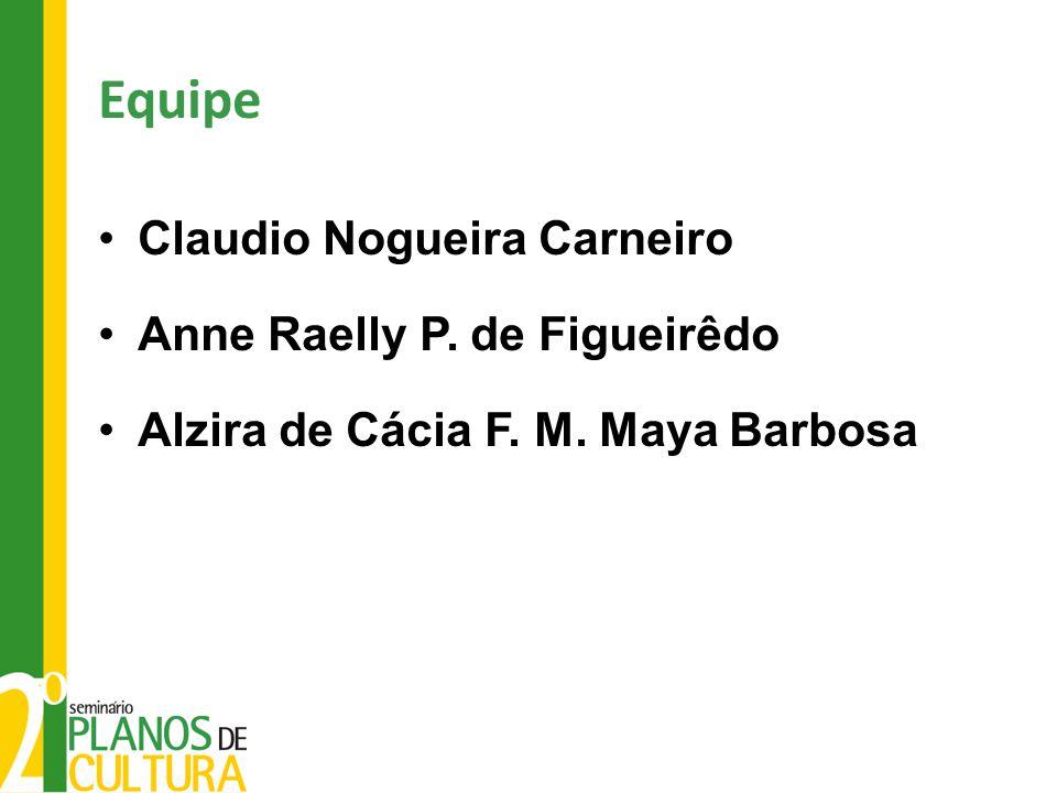 Equipe Claudio Nogueira Carneiro Anne Raelly P. de Figueirêdo Alzira de Cácia F. M. Maya Barbosa