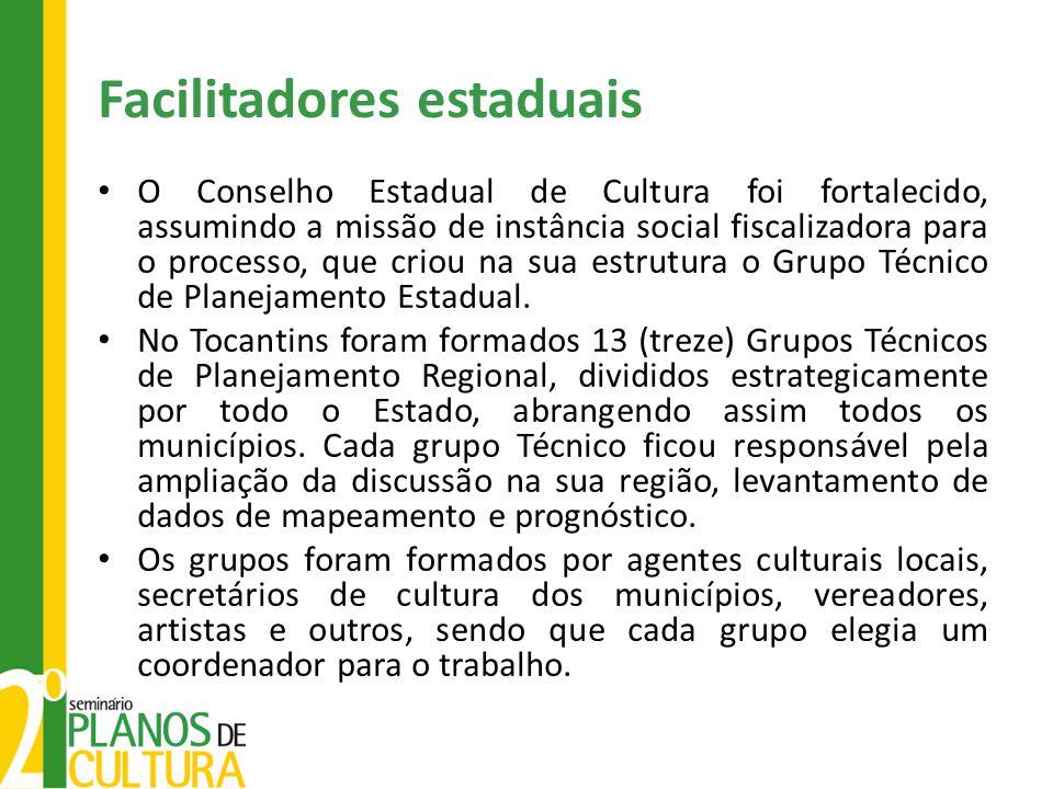 Facilitadores estaduais O Conselho Estadual de Cultura foi fortalecido, assumindo a missão de instância social fiscalizadora para o processo, que crio
