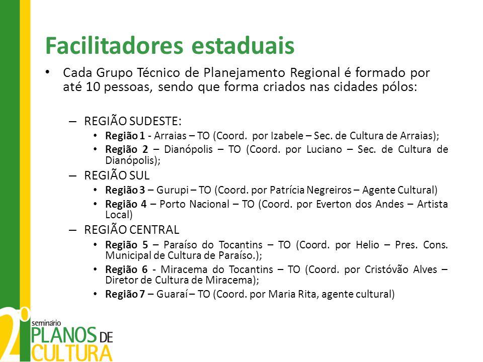 Facilitadores estaduais Cada Grupo Técnico de Planejamento Regional é formado por até 10 pessoas, sendo que forma criados nas cidades pólos: – REGIÃO