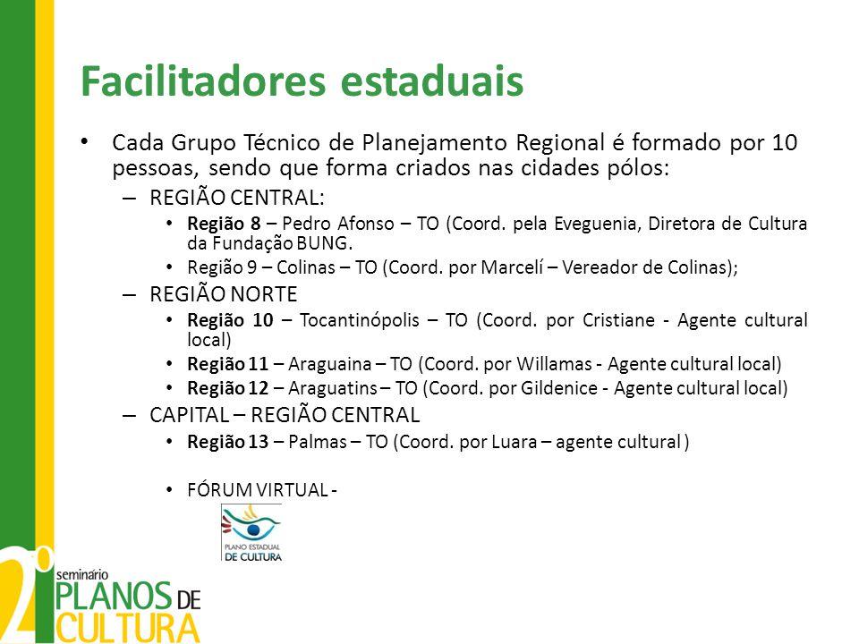 Facilitadores estaduais Cada Grupo Técnico de Planejamento Regional é formado por 10 pessoas, sendo que forma criados nas cidades pólos: – REGIÃO CENT