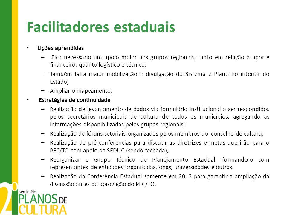 Facilitadores estaduais Lições aprendidas – Fica necessário um apoio maior aos grupos regionais, tanto em relação a aporte financeiro, quanto logístic