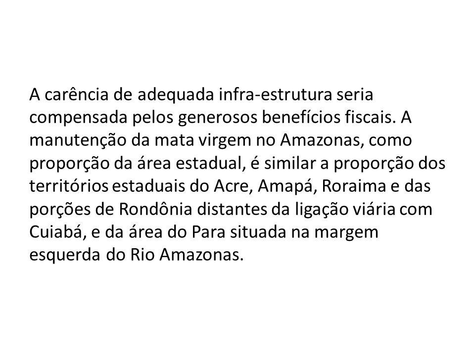 A carência de adequada infra-estrutura seria compensada pelos generosos benefícios fiscais.
