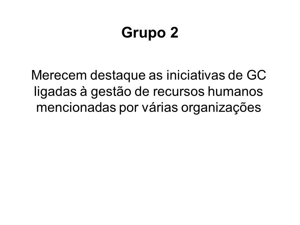 Merecem destaque as iniciativas de GC ligadas à gestão de recursos humanos mencionadas por várias organizações Grupo 2