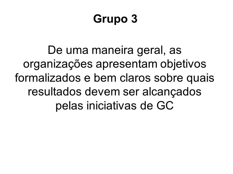 De uma maneira geral, as organizações apresentam objetivos formalizados e bem claros sobre quais resultados devem ser alcançados pelas iniciativas de GC Grupo 3