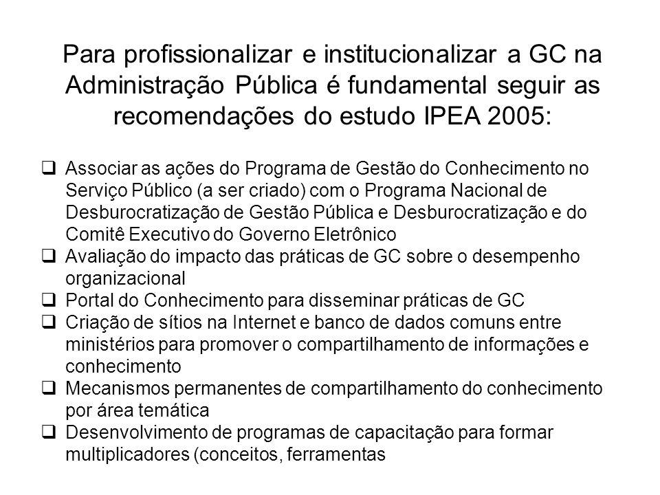Para profissionalizar e institucionalizar a GC na Administração Pública é fundamental seguir as recomendações do estudo IPEA 2005:  Associar as ações do Programa de Gestão do Conhecimento no Serviço Público (a ser criado) com o Programa Nacional de Desburocratização de Gestão Pública e Desburocratização e do Comitê Executivo do Governo Eletrônico  Avaliação do impacto das práticas de GC sobre o desempenho organizacional  Portal do Conhecimento para disseminar práticas de GC  Criação de sítios na Internet e banco de dados comuns entre ministérios para promover o compartilhamento de informações e conhecimento  Mecanismos permanentes de compartilhamento do conhecimento por área temática  Desenvolvimento de programas de capacitação para formar multiplicadores (conceitos, ferramentas e metodologias de GC)