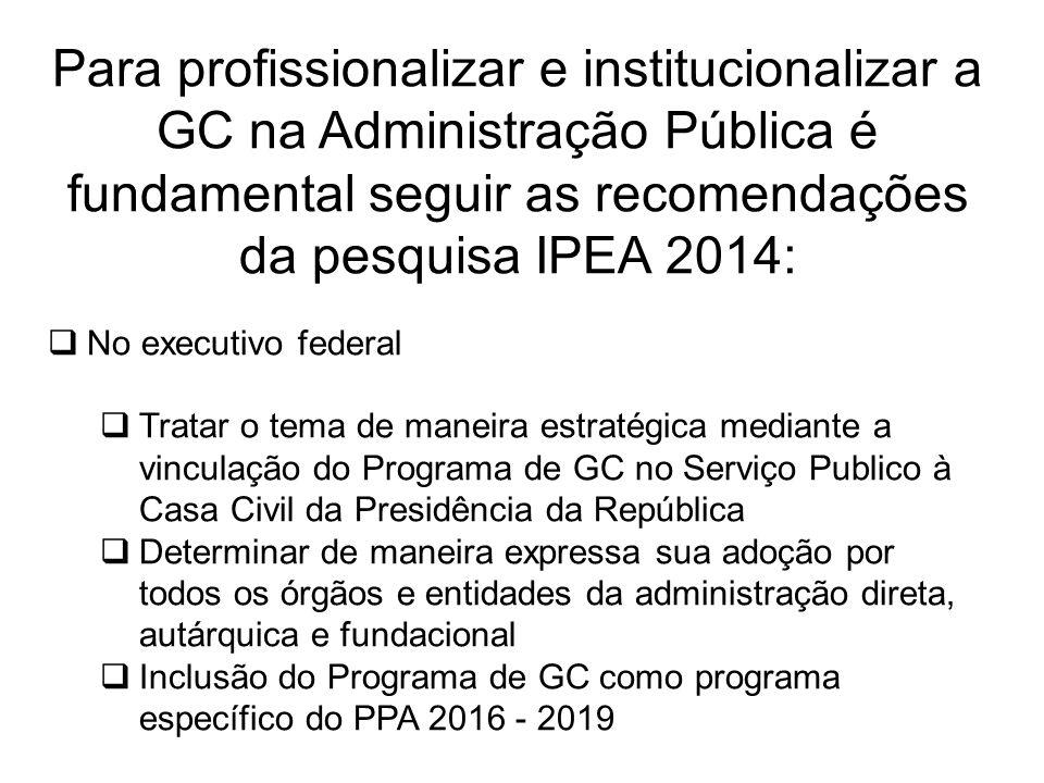 Para profissionalizar e institucionalizar a GC na Administração Pública é fundamental seguir as recomendações da pesquisa IPEA 2014:  No executivo fe