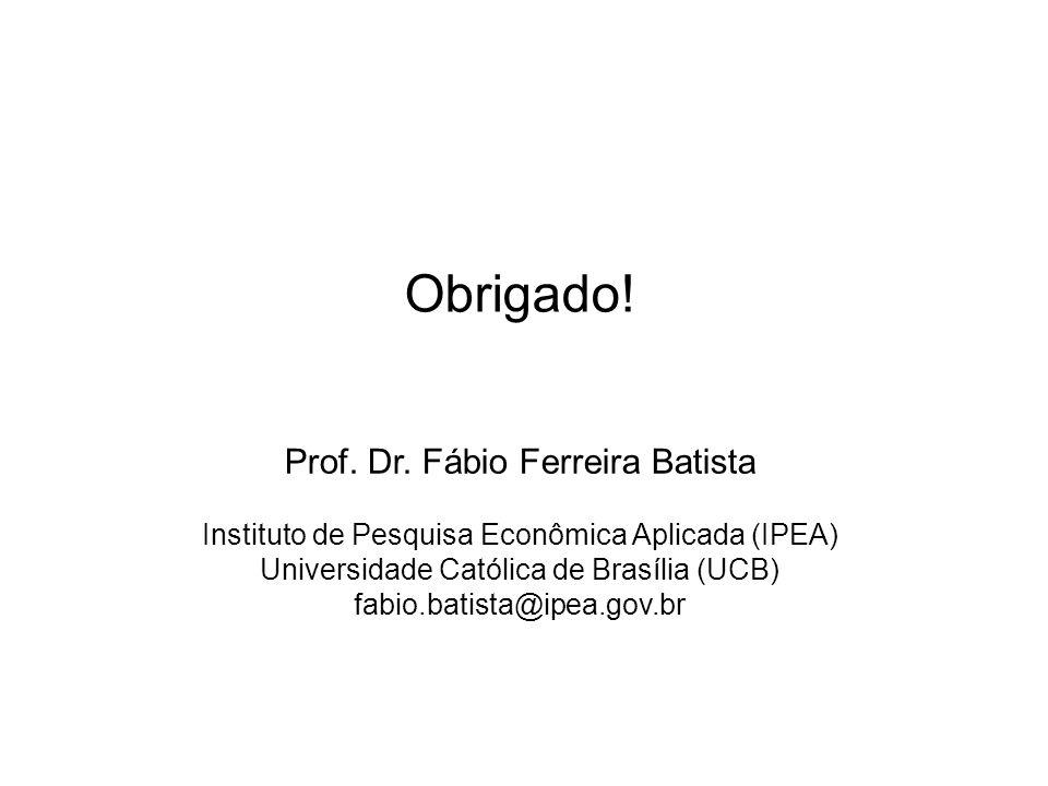 Prof. Dr. Fábio Ferreira Batista Instituto de Pesquisa Econômica Aplicada (IPEA) Universidade Católica de Brasília (UCB) fabio.batista@ipea.gov.br Obr