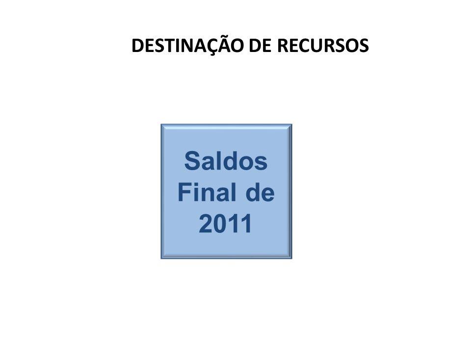DESTINAÇÃO DE RECURSOS Saldos Final de 2011