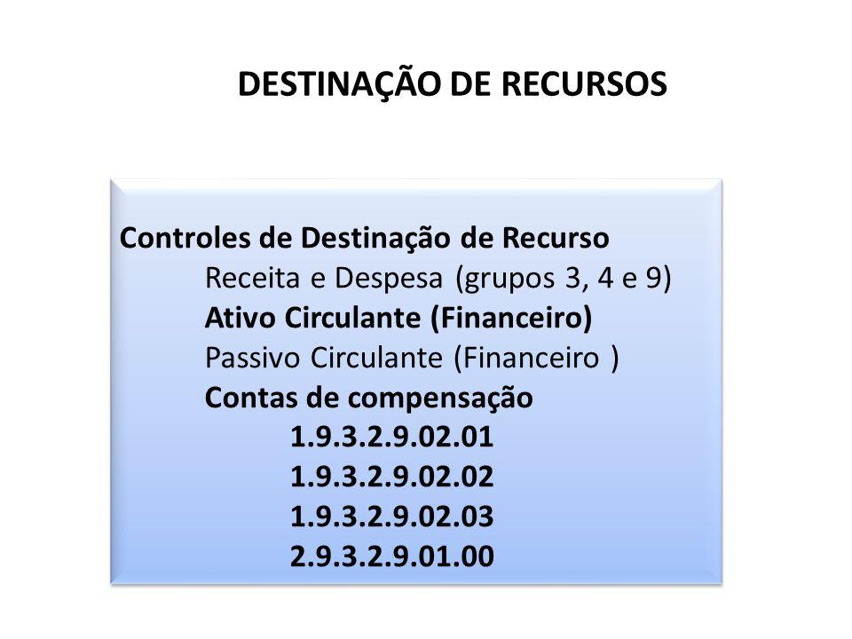 DESTINAÇÃO DE RECURSOS Controles de Destinação de Recurso Receita e Despesa (grupos 3, 4 e 9) Ativo Circulante (Financeiro) Passivo Circulante (Financ