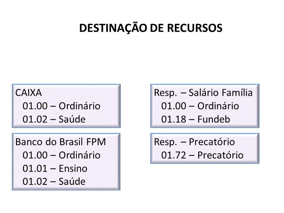 DESTINAÇÃO DE RECURSOS Banco do Brasil FPM 01.00 – Ordinário 01.01 – Ensino 01.02 – Saúde Resp. – Salário Família 01.00 – Ordinário 01.18 – Fundeb Res