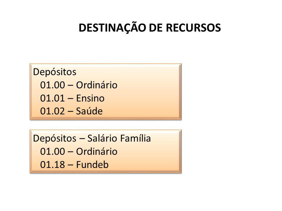 DESTINAÇÃO DE RECURSOS Depósitos 01.00 – Ordinário 01.01 – Ensino 01.02 – Saúde Depósitos 01.00 – Ordinário 01.01 – Ensino 01.02 – Saúde Depósitos – S