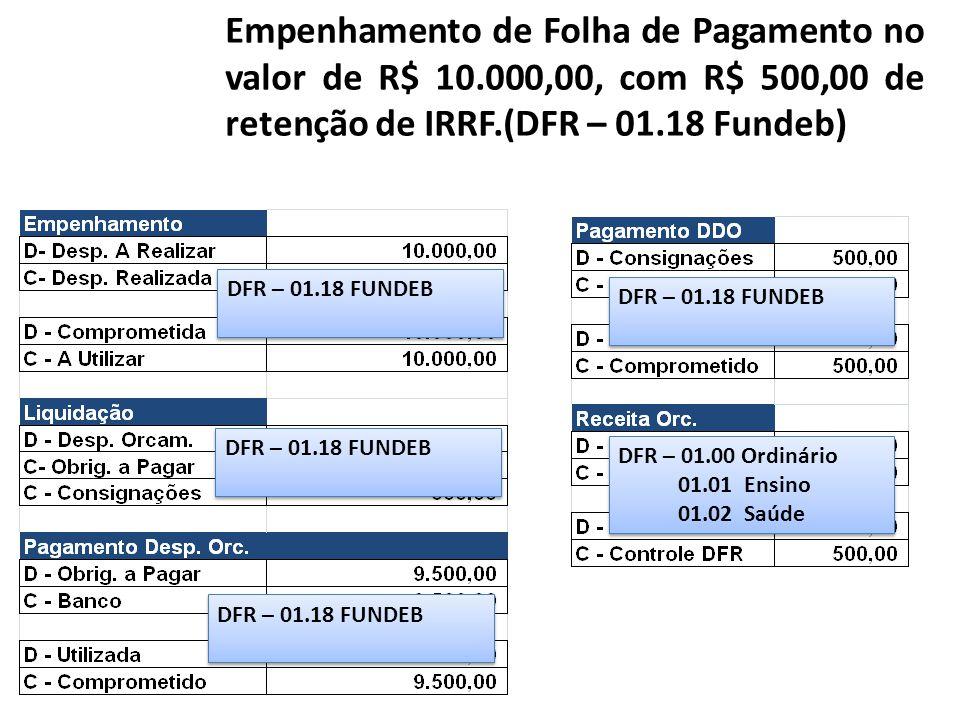 Empenhamento de Folha de Pagamento no valor de R$ 10.000,00, com R$ 500,00 de retenção de IRRF.(DFR – 01.18 Fundeb) DFR – 01.18 FUNDEB DFR – 01.00 Ord