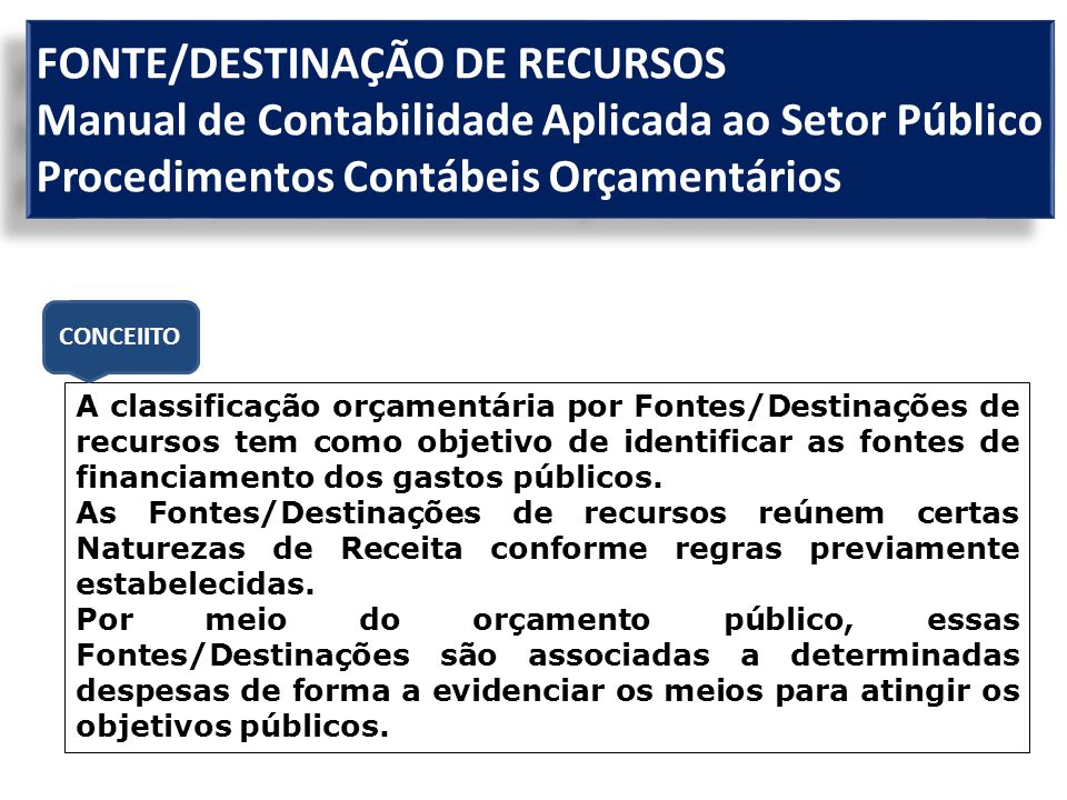 FONTE/DESTINAÇÃO DE RECURSOS Manual de Contabilidade Aplicada ao Setor Público Procedimentos Contábeis Orçamentários A classificação orçamentária por