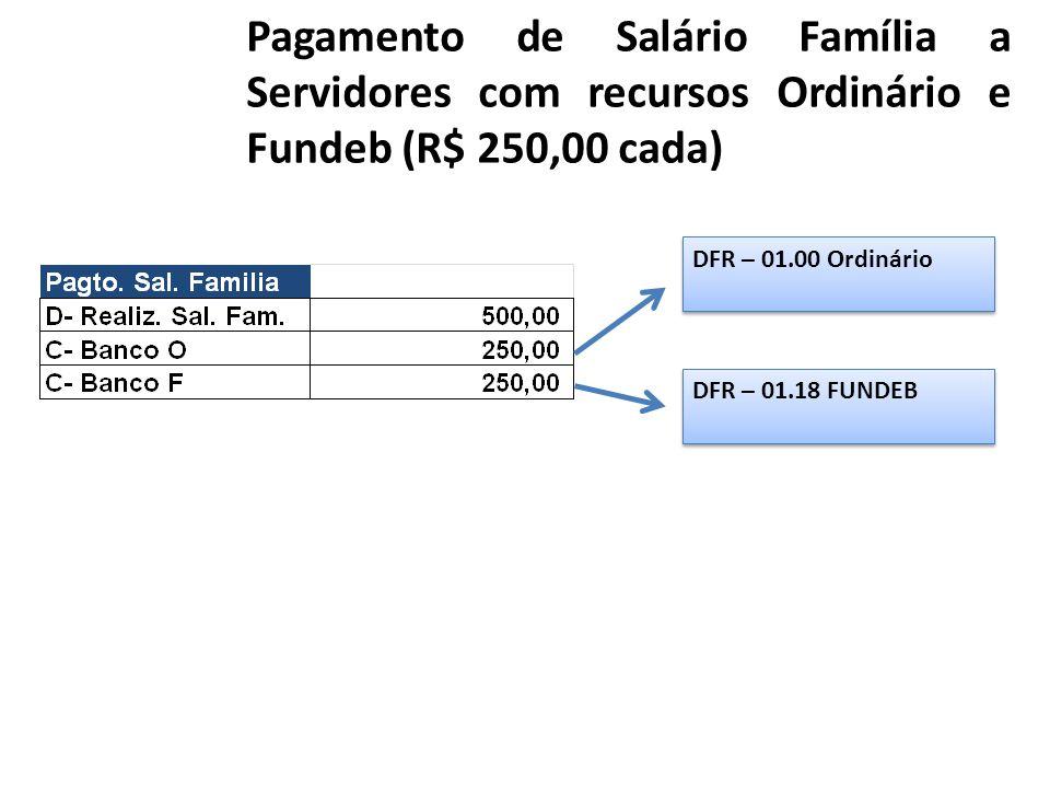 Pagamento de Salário Família a Servidores com recursos Ordinário e Fundeb (R$ 250,00 cada) DFR – 01.00 Ordinário DFR – 01.18 FUNDEB