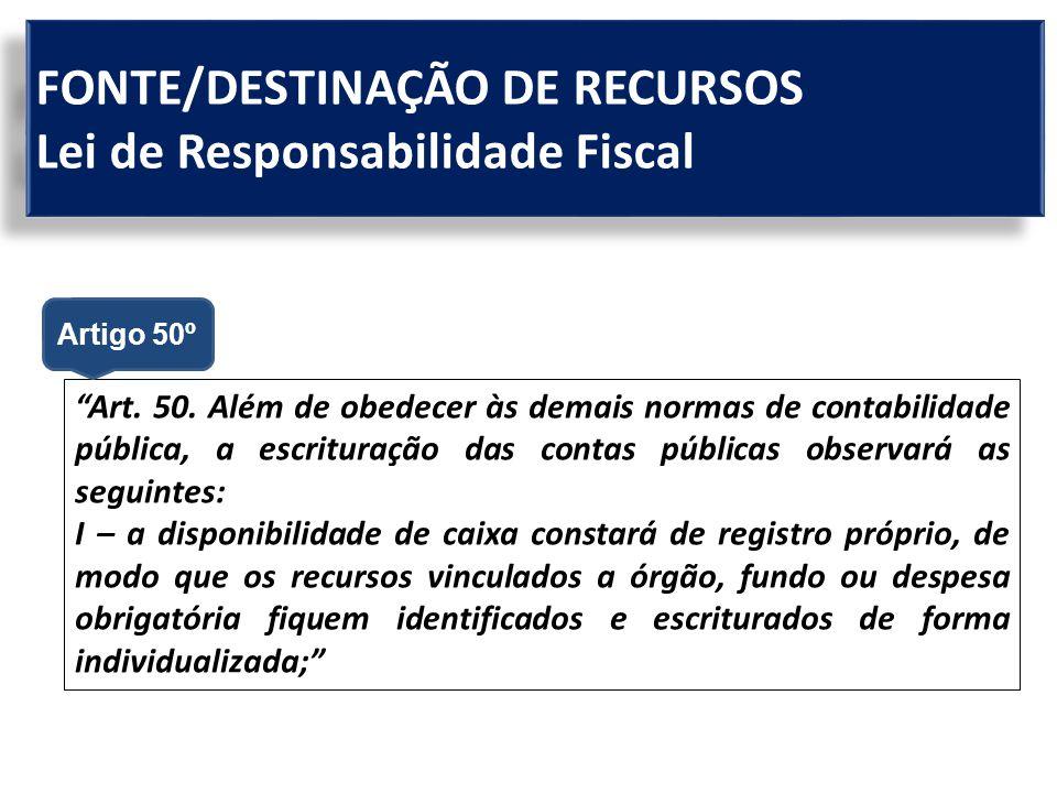 """FONTE/DESTINAÇÃO DE RECURSOS Lei de Responsabilidade Fiscal """"Art. 50. Além de obedecer às demais normas de contabilidade pública, a escrituração das c"""